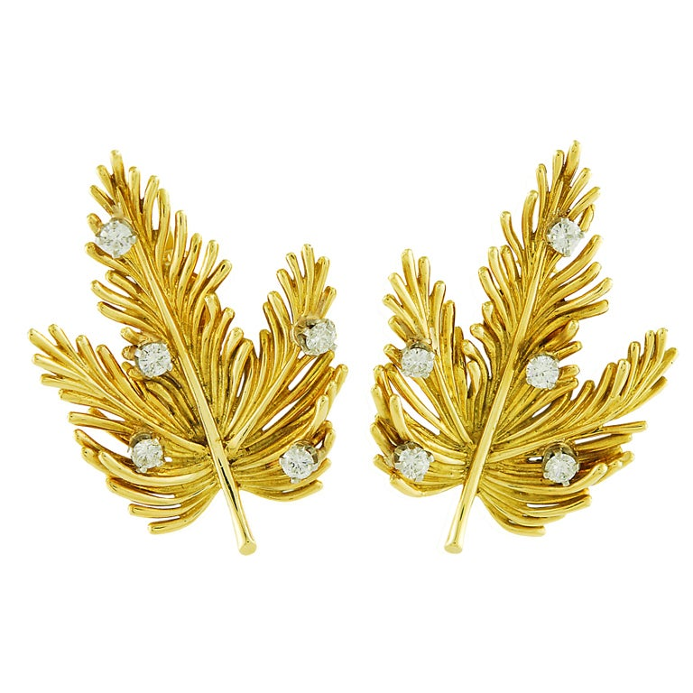TIFFANY & CO. Leaf Earclips with Diamonds For Sale