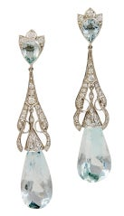 Art Deco Aquamarine Diamond Teardrop Earrings