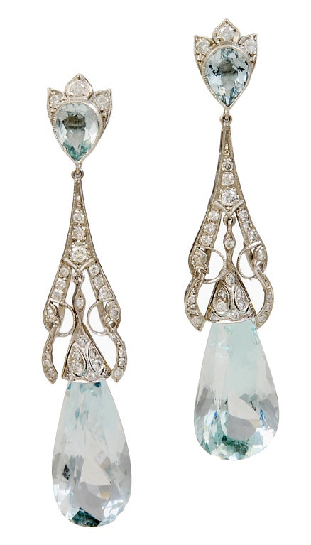 Art Deco Aquamarine Diamond Teardrop Earrings For Sale
