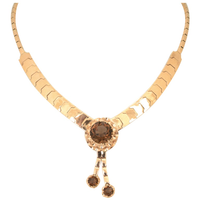 Retro Pink Gold & Smoky Topaz Tassel Snake Necklace For Sale