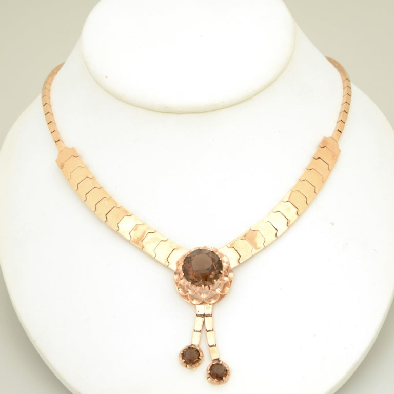 Retro 14k pink gold graduated snake link necklace with smoky topaz flower center and another 2 smoky topaz drops.  2