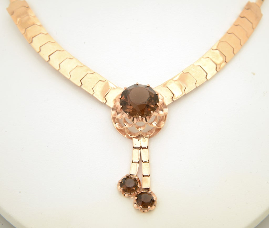Retro Pink Gold & Smoky Topaz Tassel Snake Necklace For Sale 6