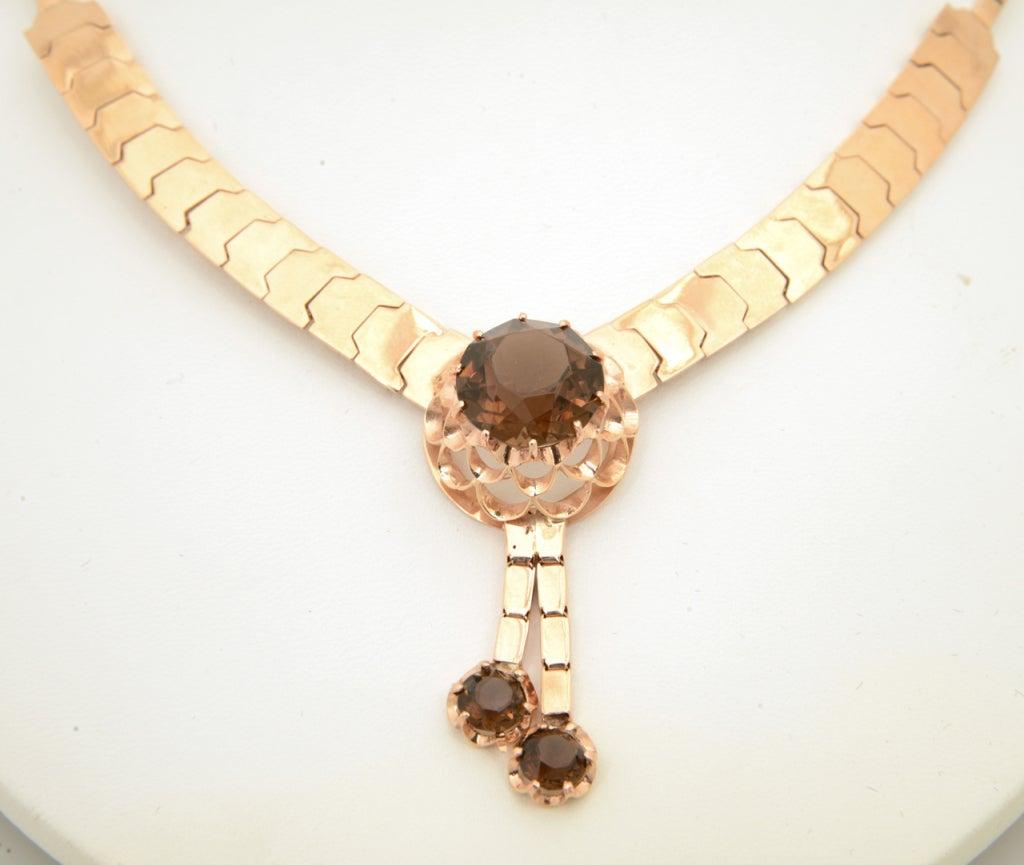 Retro Pink Gold & Smoky Topaz Tassel Snake Necklace For Sale 6