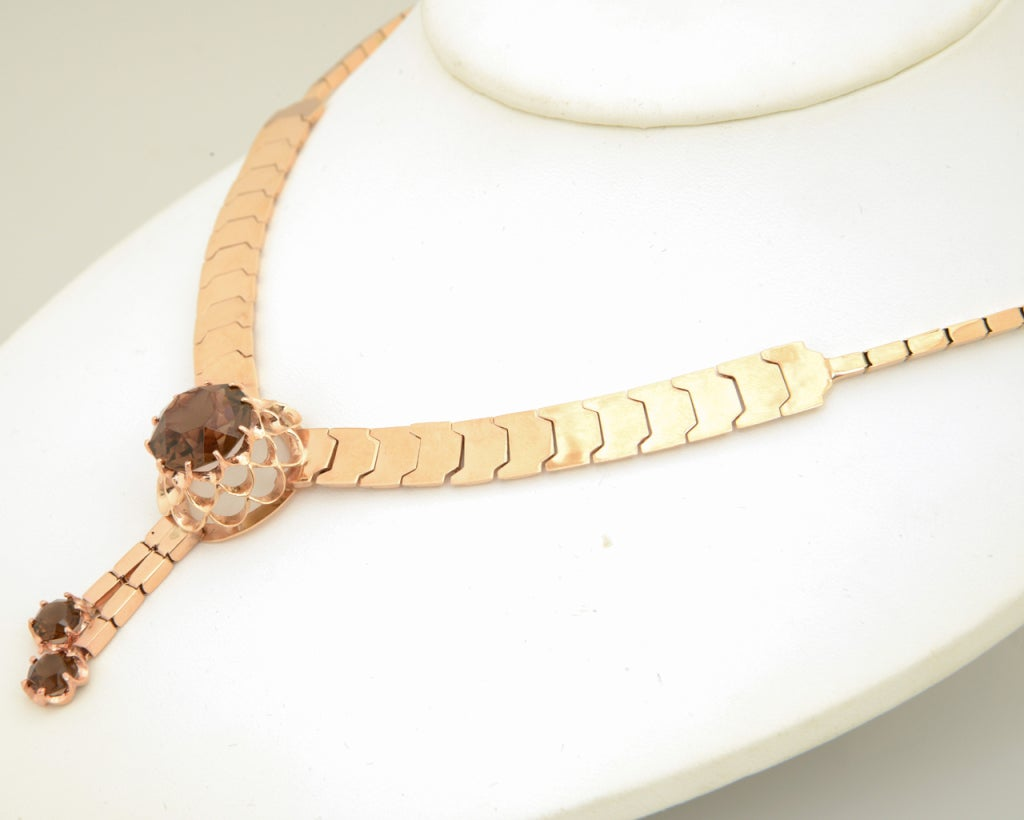 Retro Pink Gold & Smoky Topaz Tassel Snake Necklace In Good Condition For Sale In Miami Beach, FL