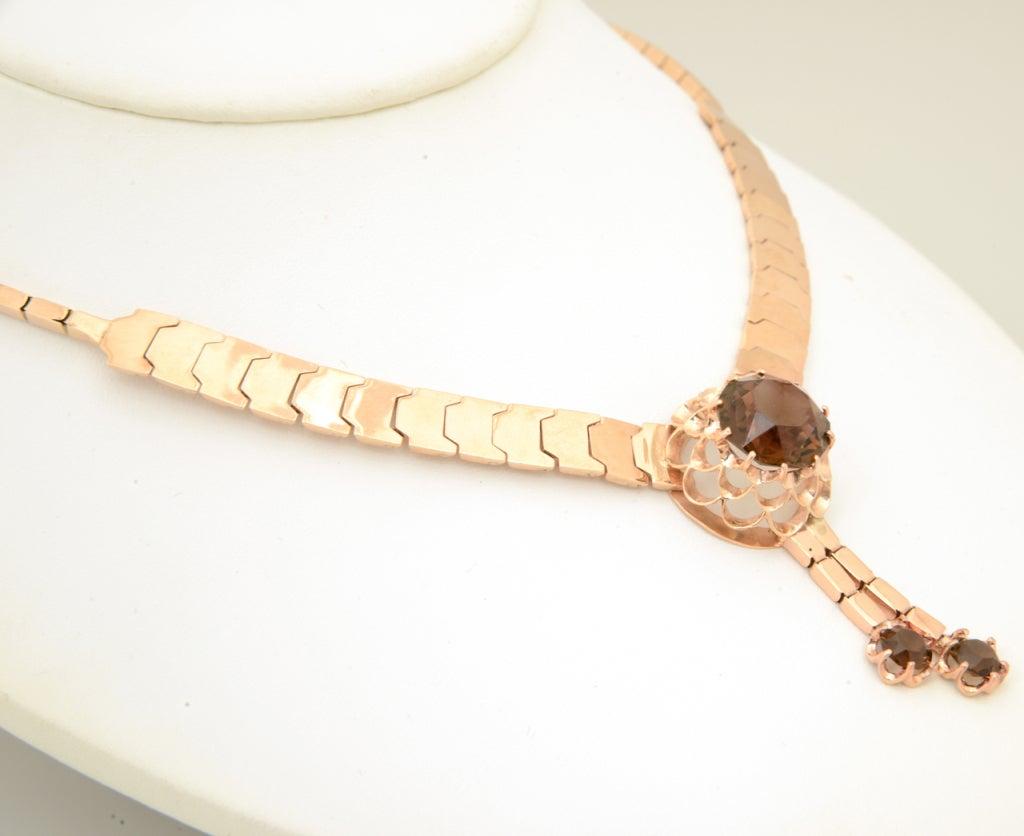 Women's Retro Pink Gold & Smoky Topaz Tassel Snake Necklace For Sale