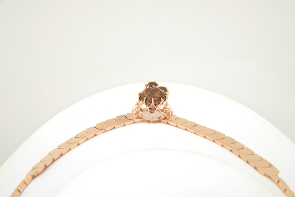 Retro Pink Gold & Smoky Topaz Tassel Snake Necklace For Sale 1