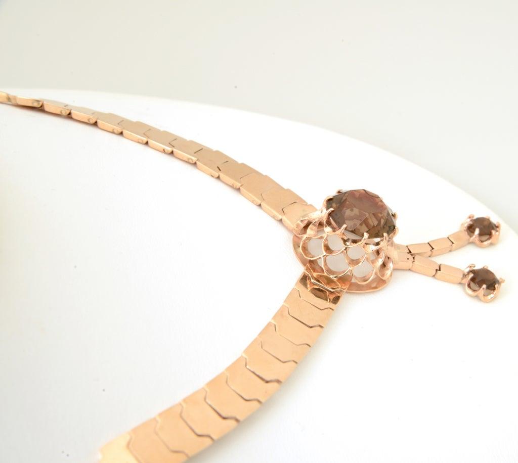 Retro Pink Gold & Smoky Topaz Tassel Snake Necklace For Sale 2