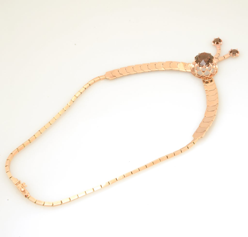 Retro Pink Gold & Smoky Topaz Tassel Snake Necklace For Sale 3
