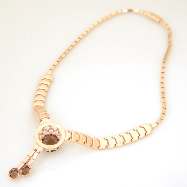 Retro Pink Gold & Smoky Topaz Tassel Snake Necklace For Sale 4