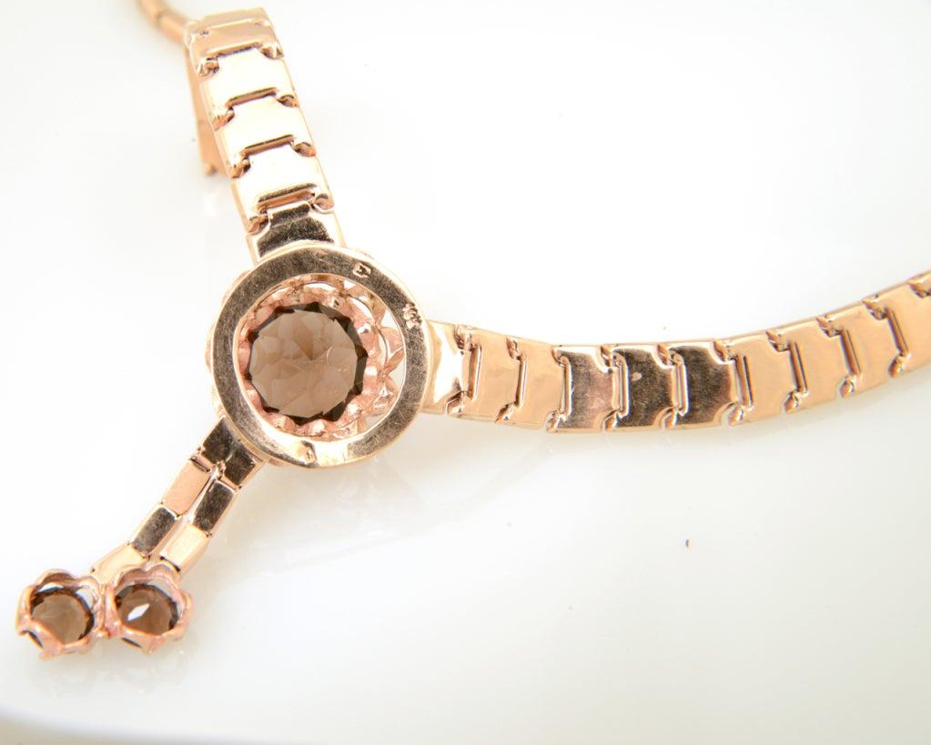 Retro Pink Gold & Smoky Topaz Tassel Snake Necklace For Sale 5