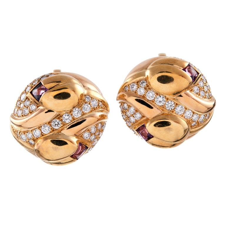 BULGARI Diamond, Pink Tourmaline & Yellow Gold Clip-On Earrings