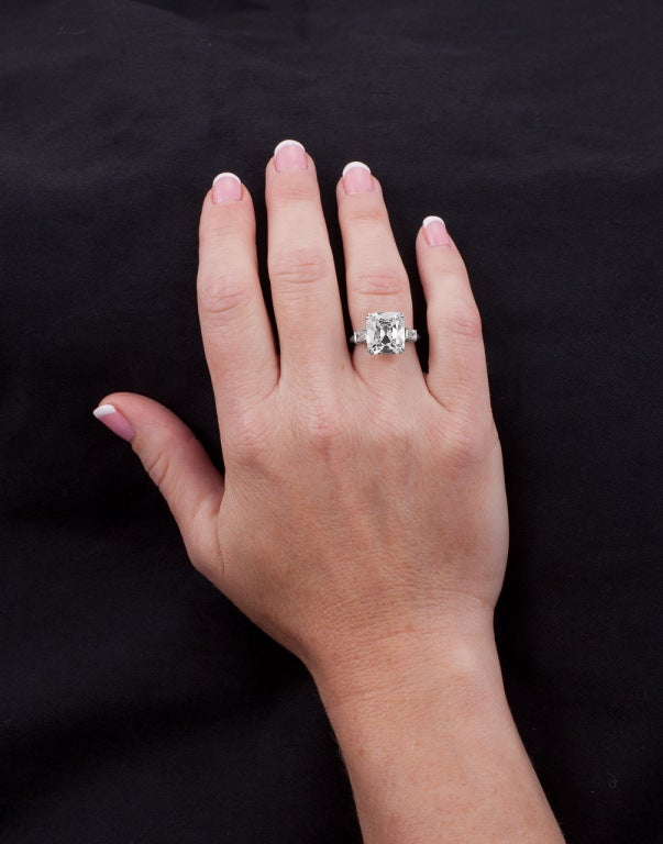 Brilliant Cushion Cut 6.53 Carat GIA Certified Diamond Platinum Engagement Ring 5