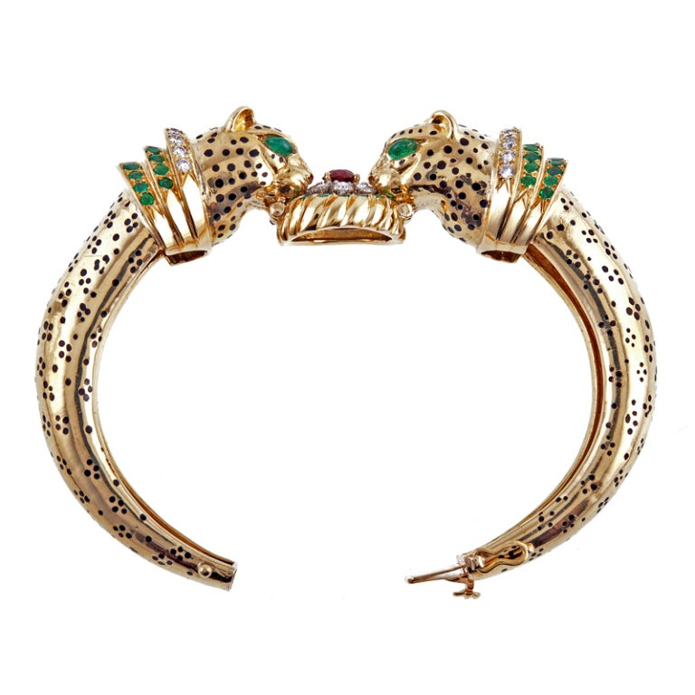 Emerald Ruby Diamond & Enamel Leopard Bangle Bracelet 3
