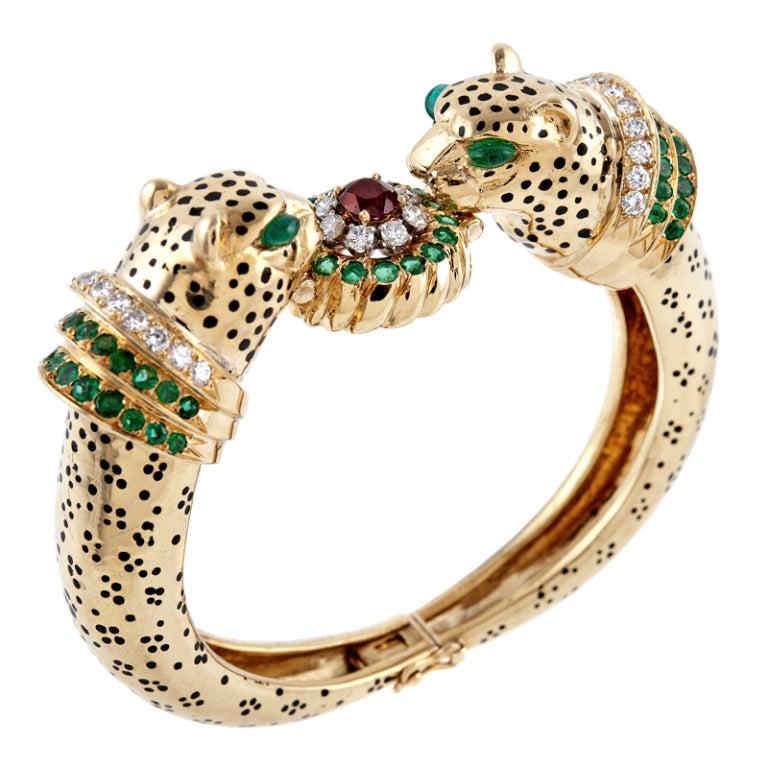 Emerald Ruby Diamond & Enamel Leopard Bangle Bracelet 1