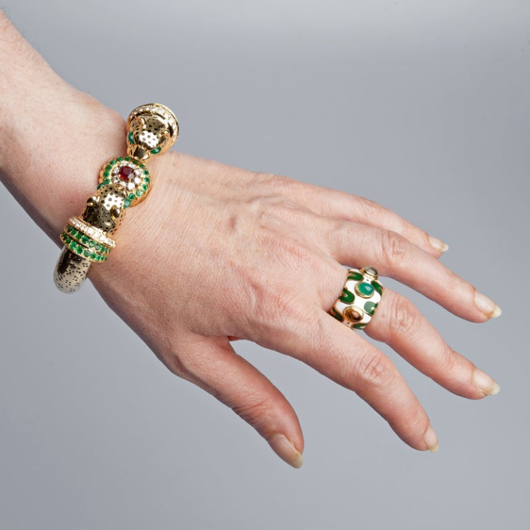 Emerald Ruby Diamond & Enamel Leopard Bangle Bracelet 4