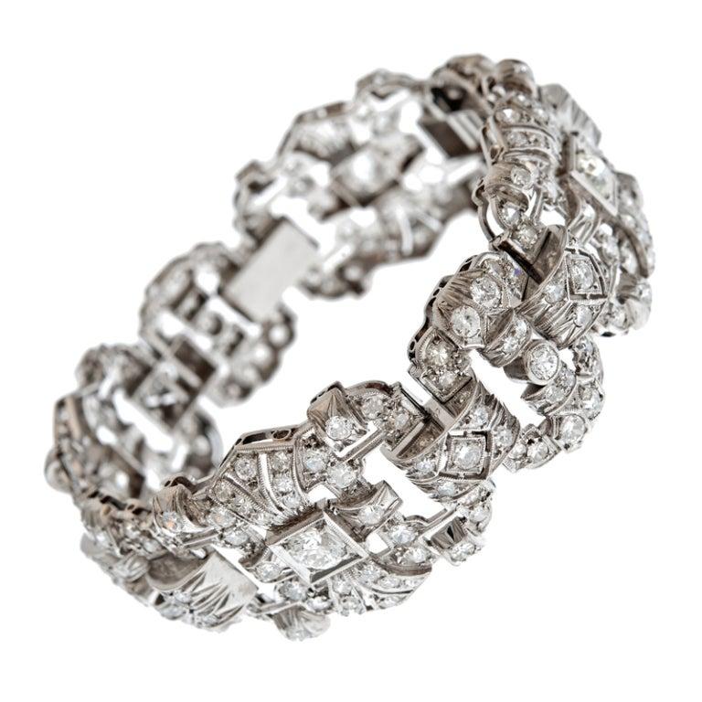 Art Deco Impressive 1930's Diamond Platinum Panel Bracelet 1