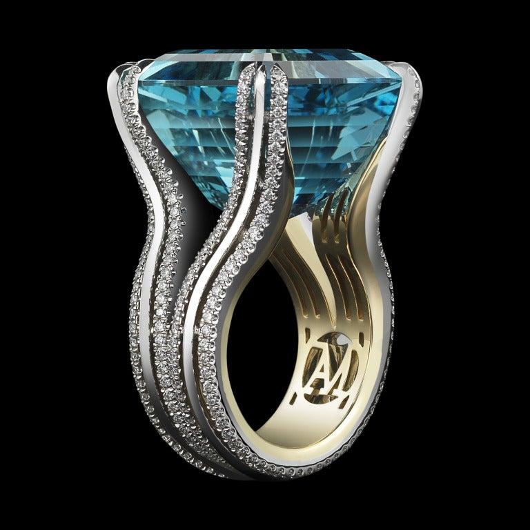 Asscher-Cut Intense Aquamarine & Diamond Ring 2