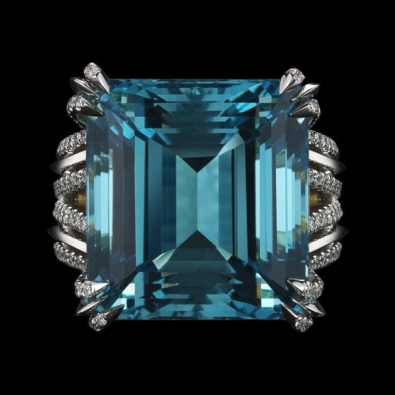 Asscher-Cut Intense Aquamarine & Diamond Ring 5