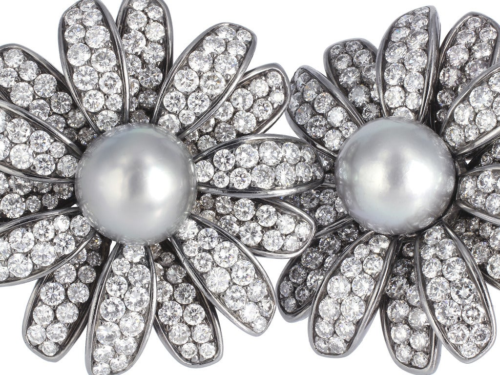 Contemporary Diamond and Tahitian Pearl Daisy Earrings For Sale