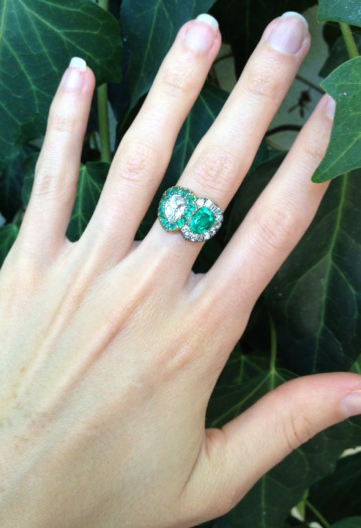 Women's Victorian Twin Heart Ring