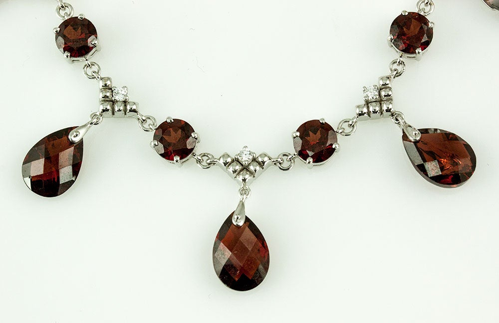 Modernist Garnet Diamond Gold Fringe Necklace 2
