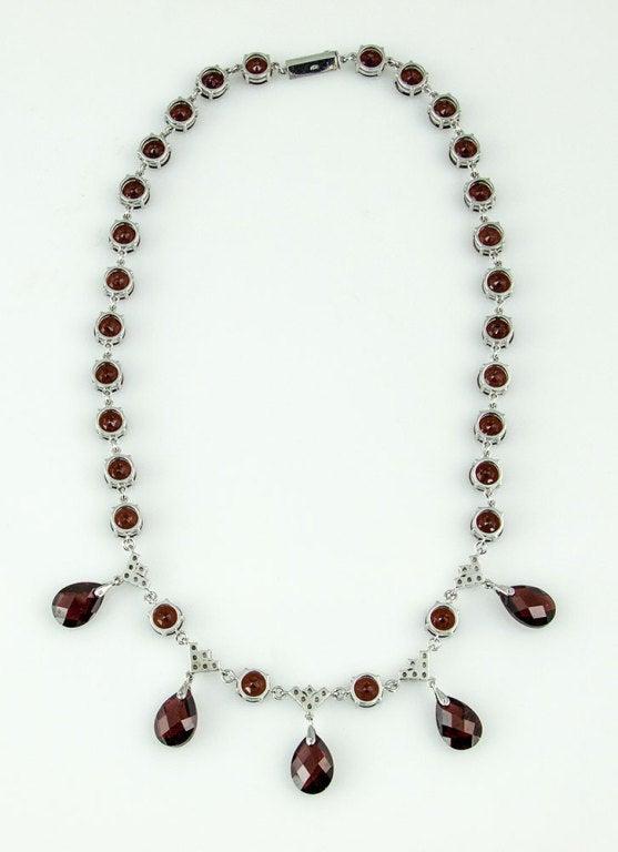 Modernist Garnet Diamond Gold Fringe Necklace 3