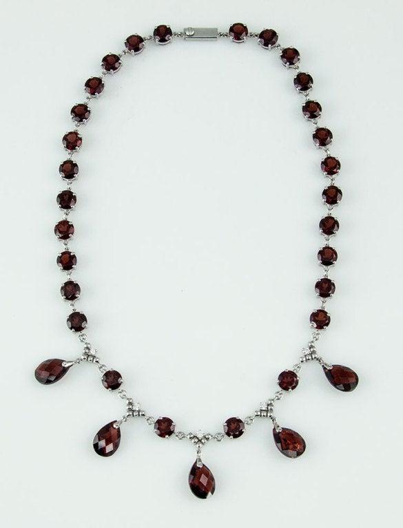 Modernist Garnet Diamond Gold Fringe Necklace 4