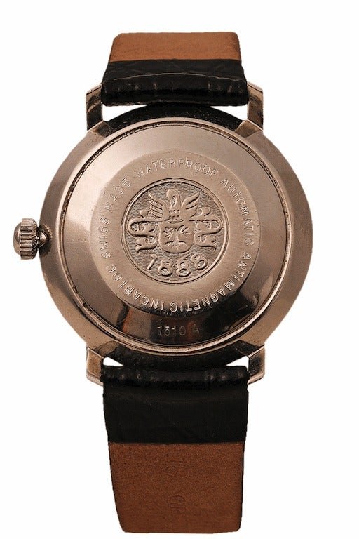 BUCHERER Stainless Steel Day-Date Wristwatch circa 1960s 2