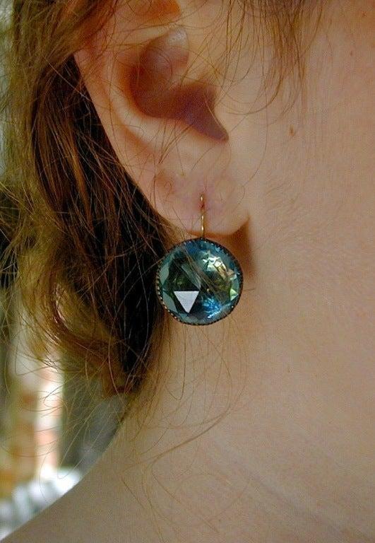 """""""Queen Anne"""" Aqua Paste Earrings 3"""