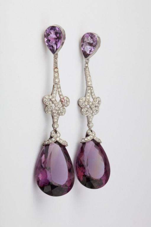 Handsome Amethyst and Diamond Pendant Earrings 2