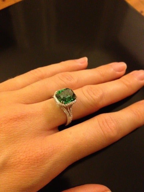 TAMIR Highly Prized Vivid Green Tourmaline and Diamond Gold Ring image 3