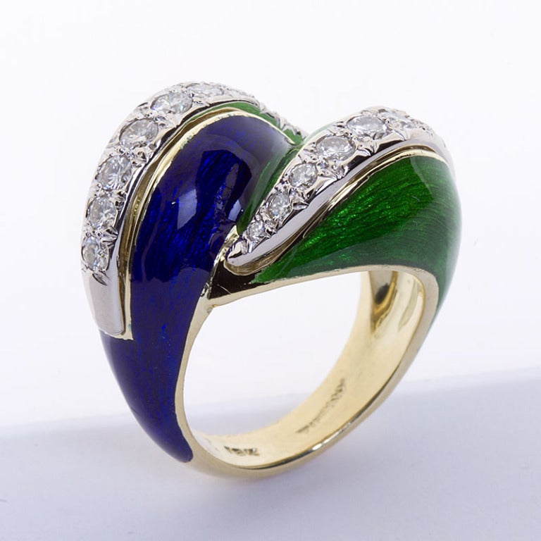 Tiffany And Co Blue And Green Enamel Quot Paillonn 233 Quot Ring At