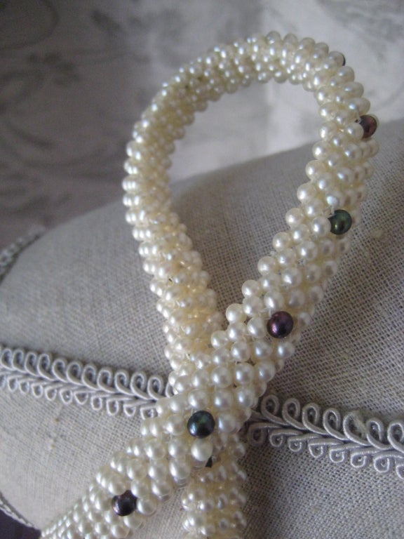 """Marina J. Woven Pearl, Black Pearl, Gold """"3d Rope"""" Necklace For Sale 2"""