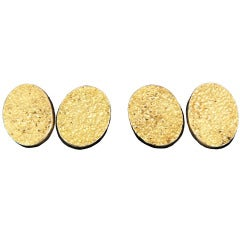 Cartier Yellow Gold Oval Nugget Cufflinks