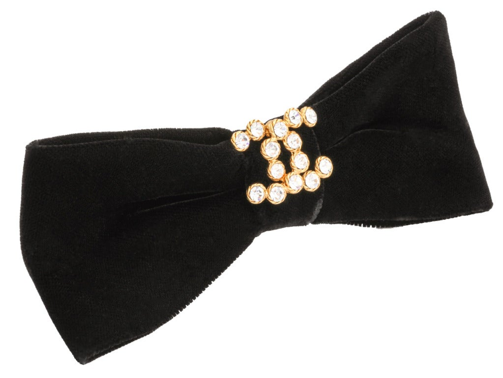 Chanel Black Large Velvet Hair Barrette image 4