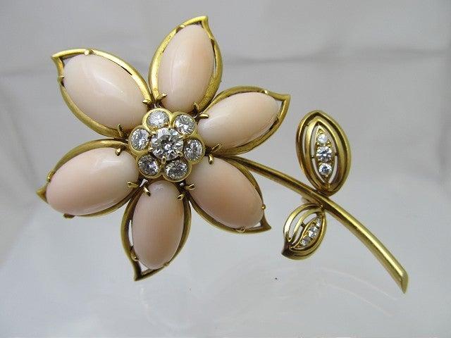 Van Cleef & Arpels Coral Diamond Brooch For Sale 1