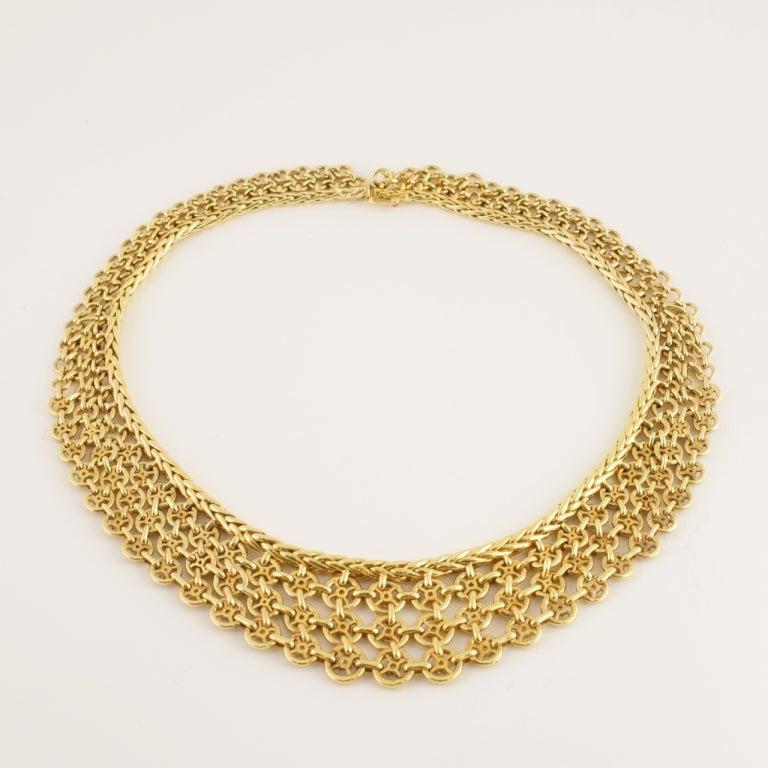 Sterlé Paris Mid 20th Century Diamond Gold Bib Necklace For Sale