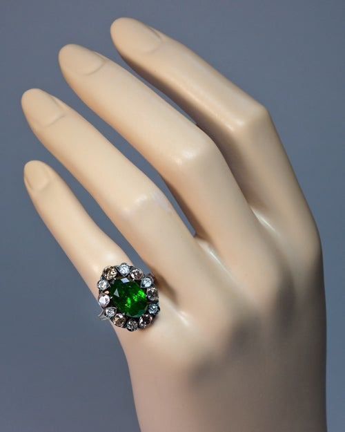 Russian 5 Ct Demantoid Fancy Colored Diamond Antique Ring 5