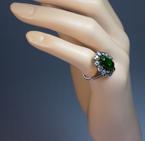 Antique Russian 5 Carat Demantoid Fancy Colored Diamond  Ring For Sale 1