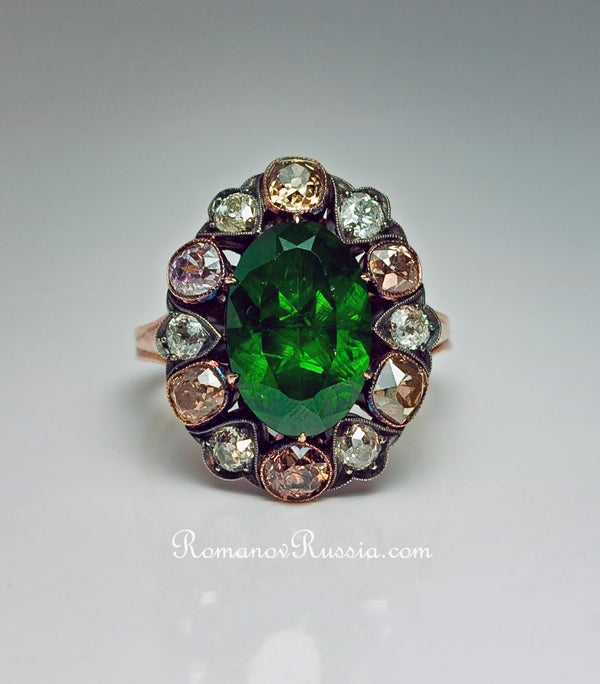 Antique Russian 5 Carat Demantoid Fancy Colored Diamond  Ring For Sale 2
