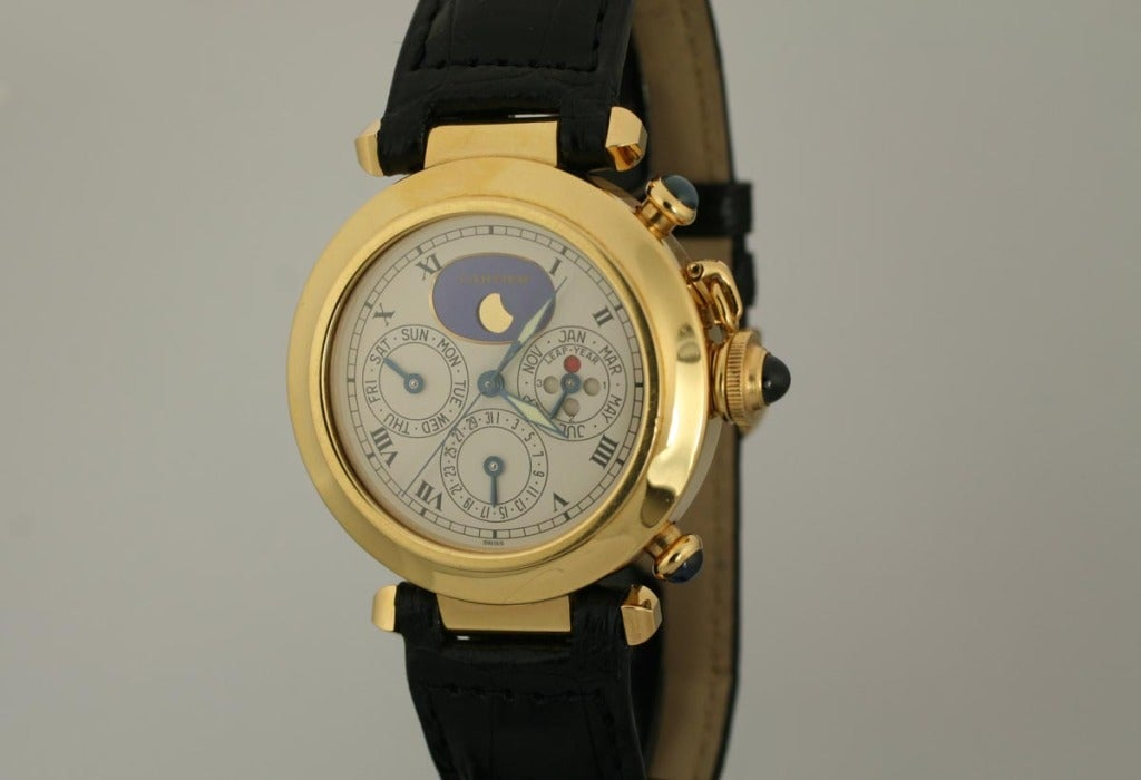 Cartier Yellow Gold Pasha Triple Date Moonphase Chronograph Wristwatch In Excellent Condition For Sale In Miami Beach, FL