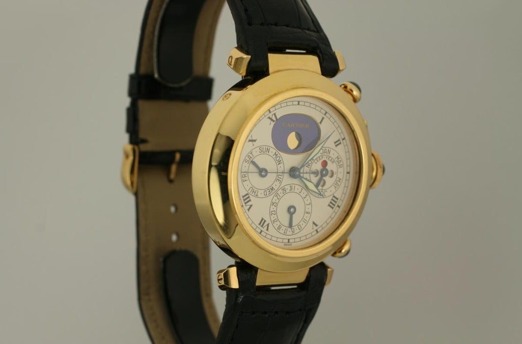 Women's or Men's Cartier Yellow Gold Pasha Triple Date Moonphase Chronograph Wristwatch For Sale