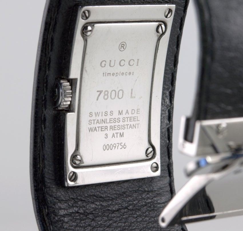 d471cf0f40b GUCCI Leather Cuff Watch at 1stdibs