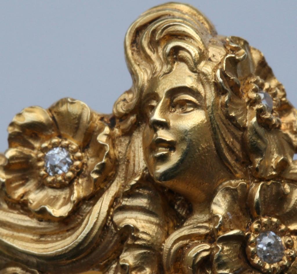 Plisson et Hartz Art Nouveau Diamond Gold Woman Flower Sculpture Scarf Ring 5