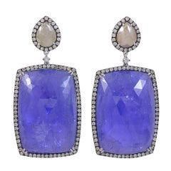 Huge Tanzanite and Diamond Earrings