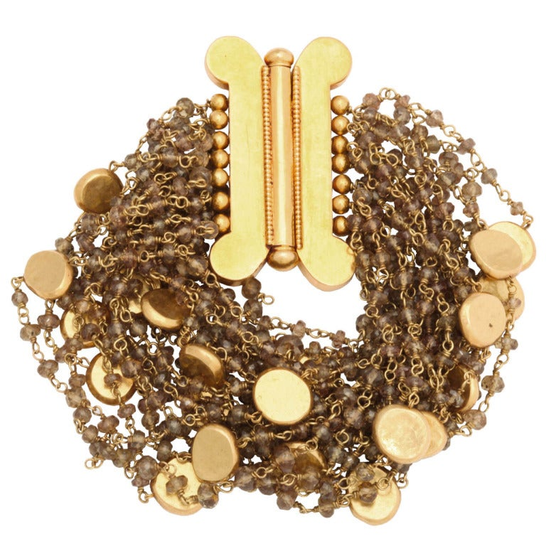 Garnet Gold Bead Bracelet