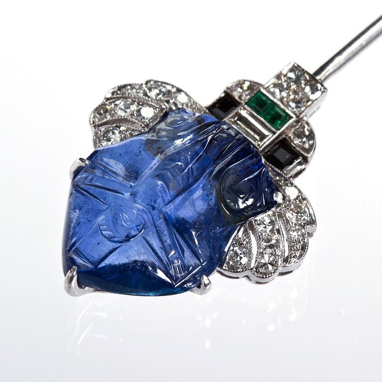 Art Deco Carved Sapphire Diamond Jabot Pin Brooch For Sale 2