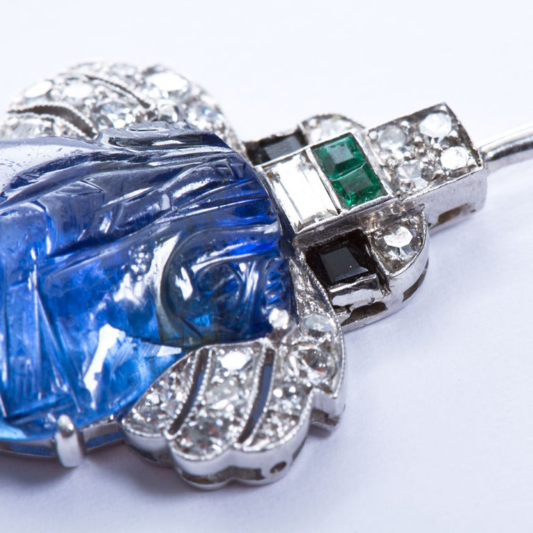 Women's or Men's Art Deco Carved Sapphire Diamond Jabot Pin Brooch For Sale