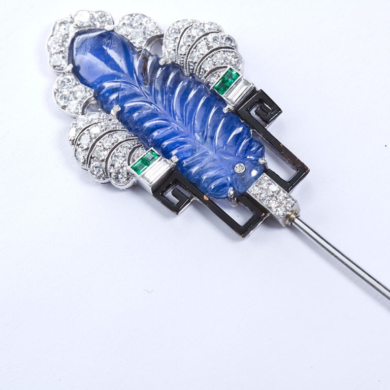 Art Deco Carved Sapphire Diamond Jabot Pin Brooch For Sale 1