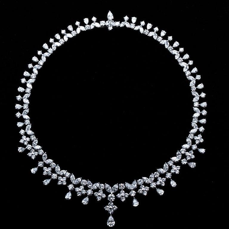 Fancy Shapes 50 Carat Diamond Platinum Necklace 2